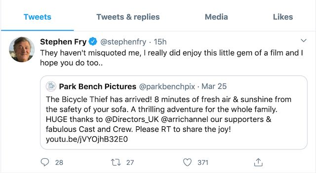 Stephen Fry recommends The Bicycle Thief to his 12.7 Million Twitter Followers